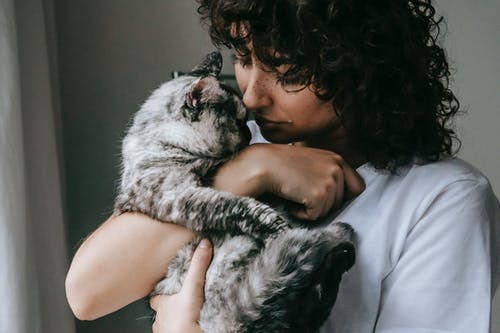 Curly woman with charming cat