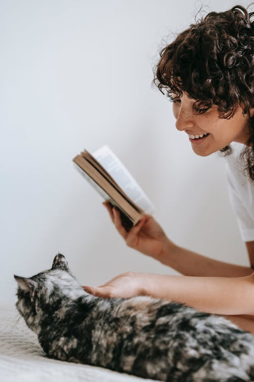 Side view of crop positive female reading book and caressing fluffy cat lying on bed