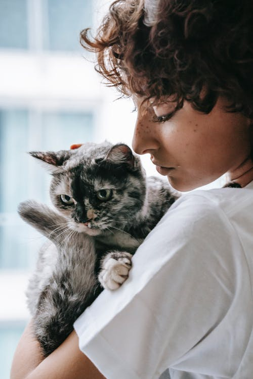 Woman caressing cat with closed eyes