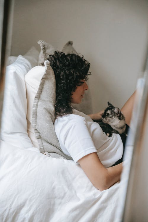 Side view of young female in casual outfit with long curly hair lying on soft bed with adorable fluffy cat