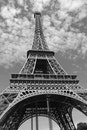 black-and-white, eiffel tower, france