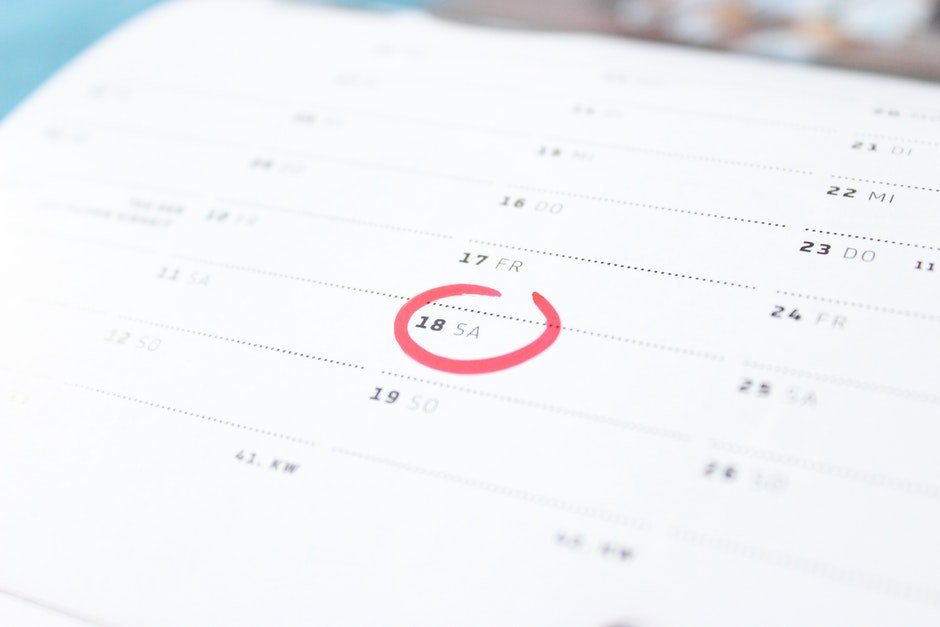 Tilt Photography of Calendar Schedule Number 18