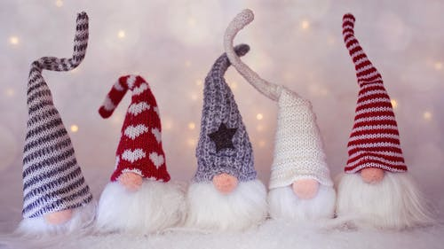 Set of Christmas gnomes with hats