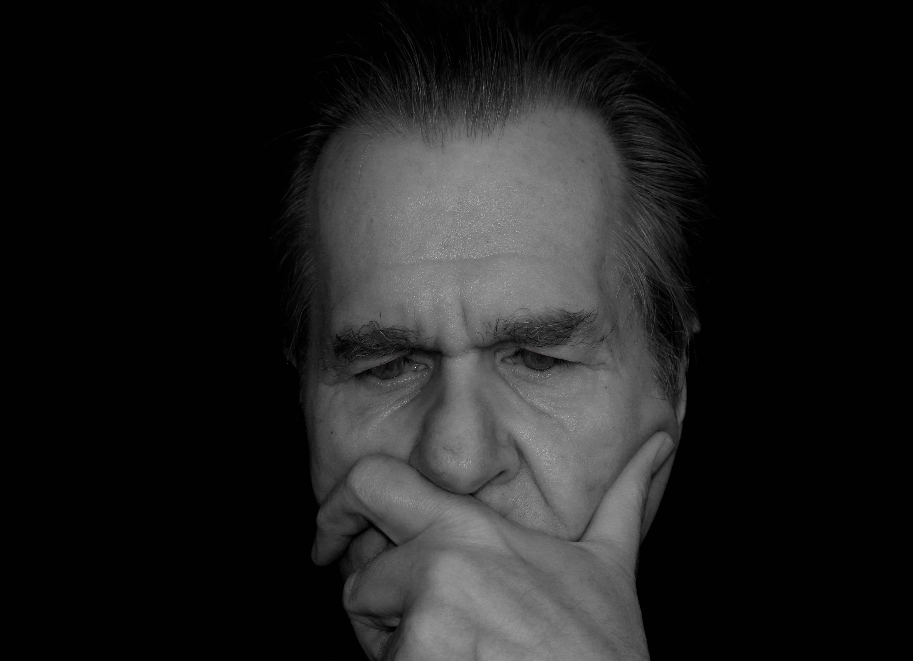 Man S Face Greyscale Picture Free Stock Photo