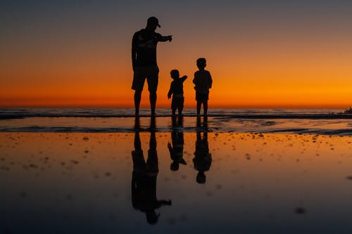 Back view of unrecognizable father standing with little boys on wet seashore and pointing at sunset