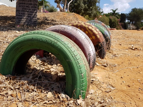 Free stock photo of park, tires, old