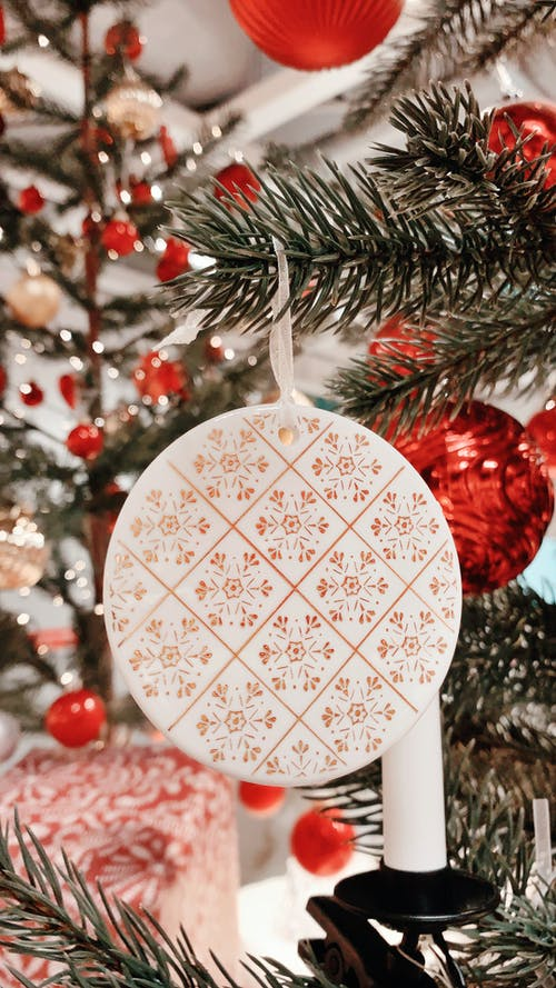 White and Red Floral Round Ornament