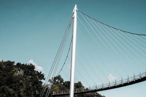 White Metal Bridge Under Blue Sky