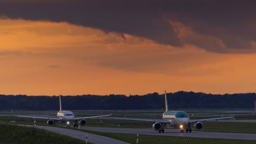 Free stock photo of airport, evening-sky, jet planes, jetplane