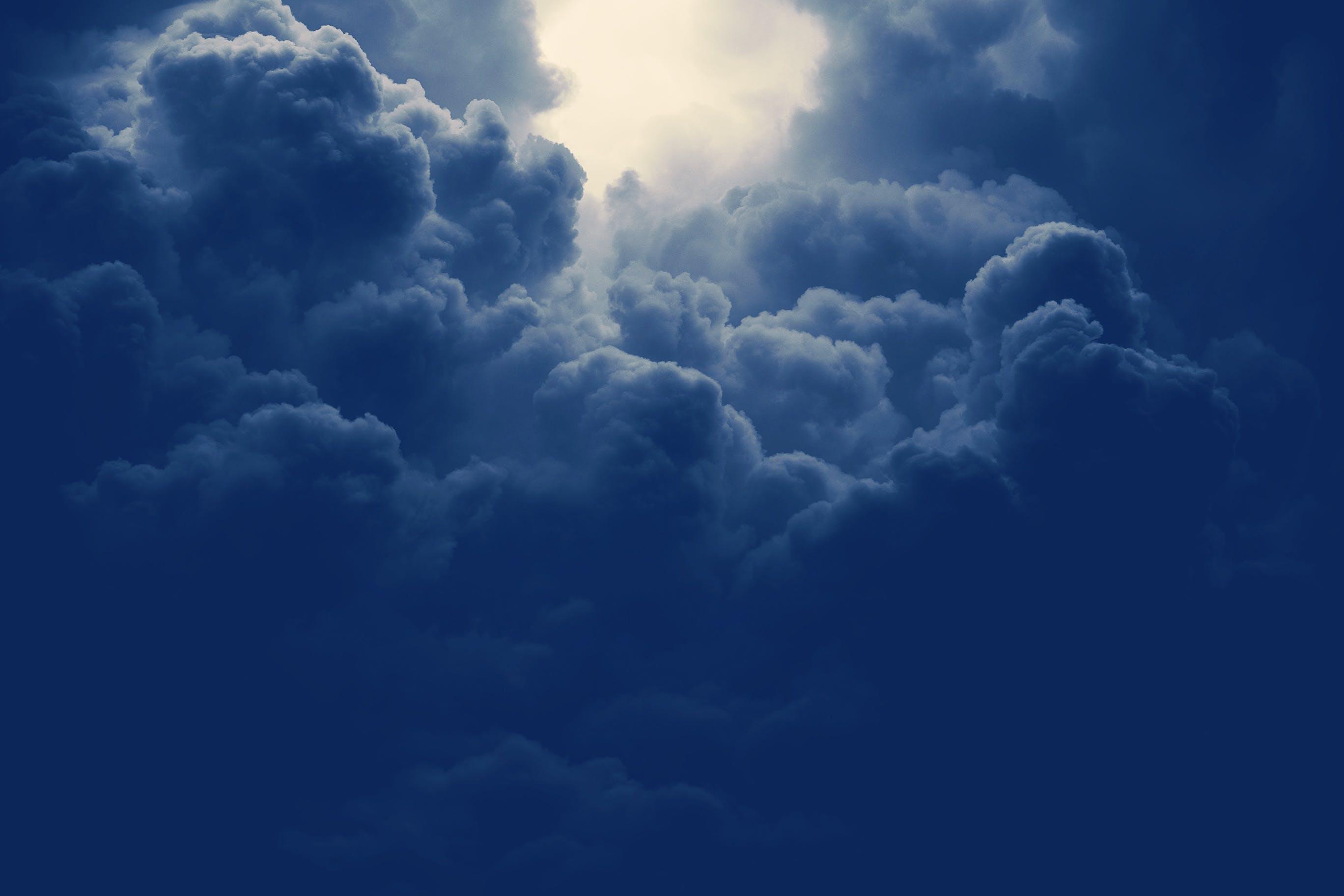 zu atmosphäre, bewölkt, blau, geschwollen