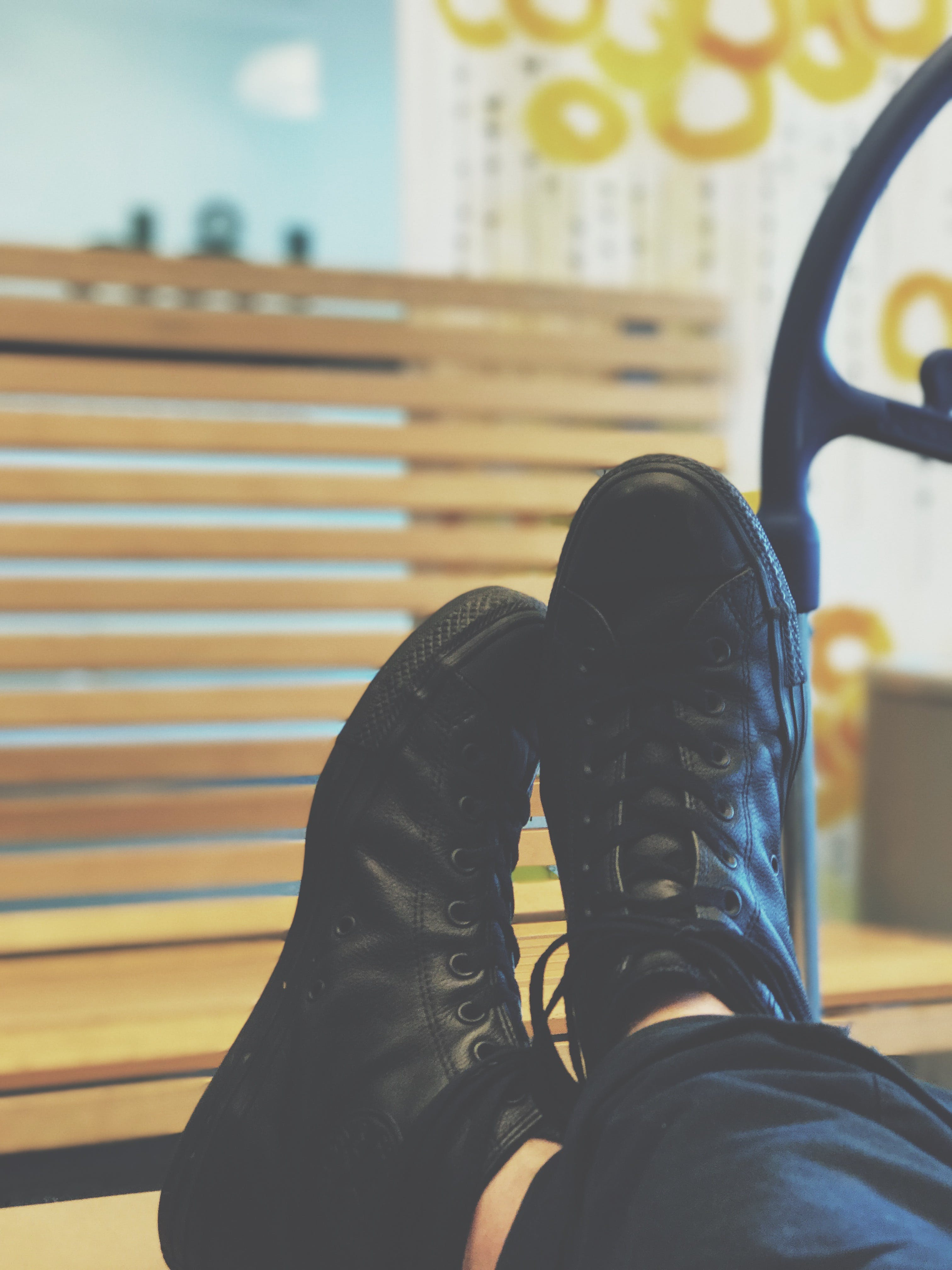 Free stock photo of bench, fashion, shoes, blur