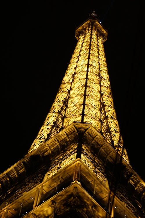 Low-Angle Shot of the Eiffel Tower at Night