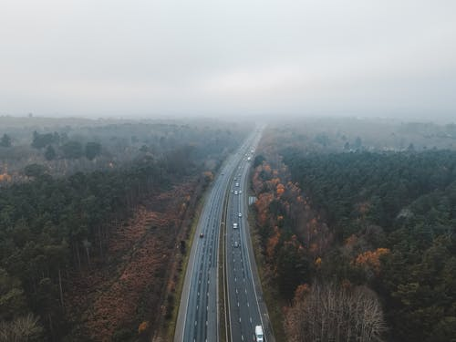 Drone view of asphalt highway with vehicles between green and yellow woods with grass under cloudy gray sky in fall in foggy day