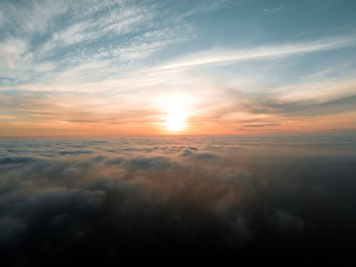 Picturesque of sky with clouds in sunrise