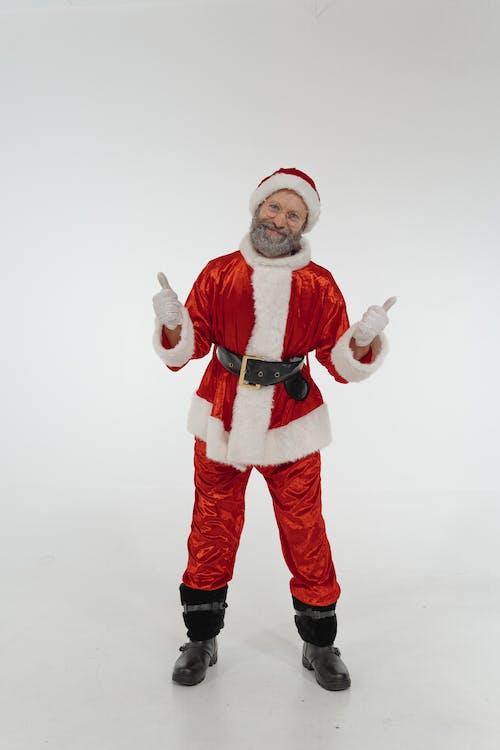 Elderly Man Wearing Santa Costume