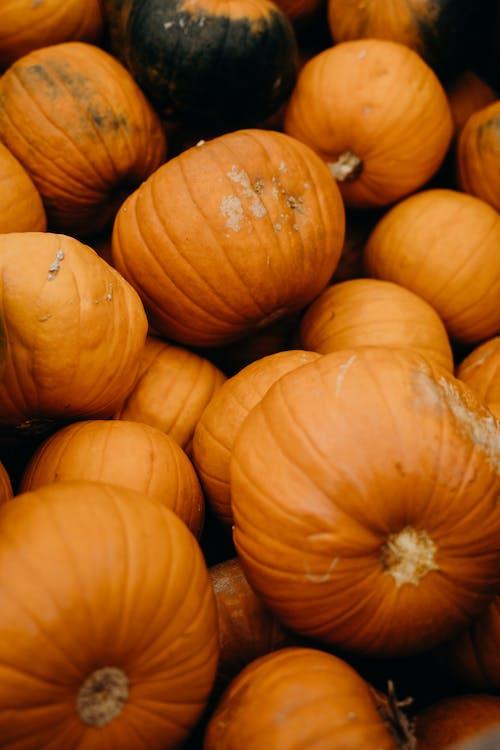 Oranje Pompoenen Op Bruin Houten Krat