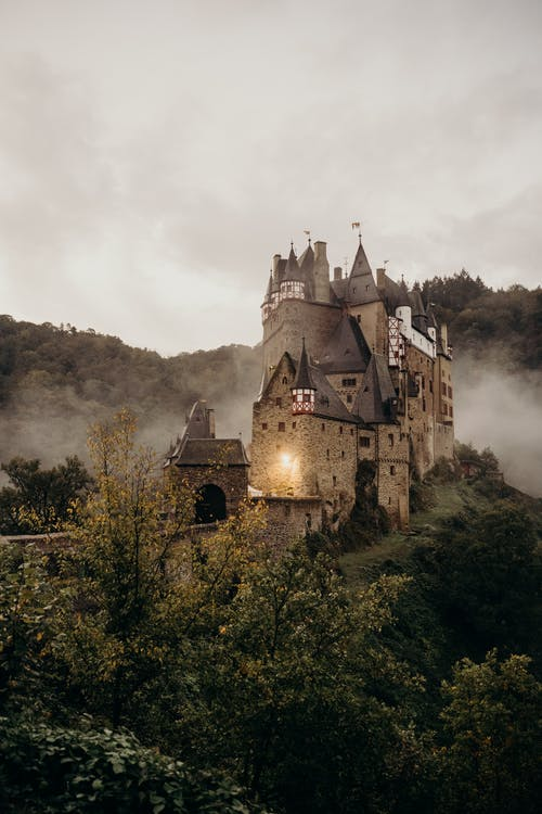 Gray Castle on Top of Mountain