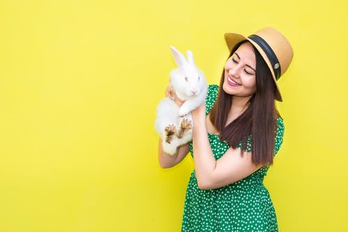 Woman in Green and White Polka Dot Dress Holding White Rabbit