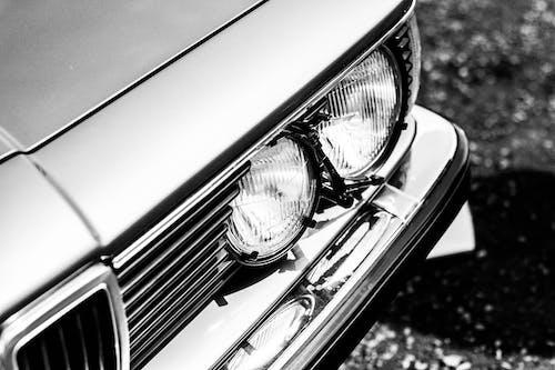 Free stock photo of car, car lights, retro