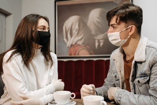 Man and Woman Wearing Face Mask in the Coffee Shop
