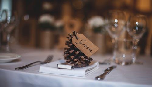 Imagine de stoc gratuită din aranjarea mesei, cârpă albă de masă, con de pin, fotografie de aproape