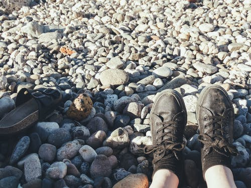 Free stock photo of beach, black shoes, black slippers