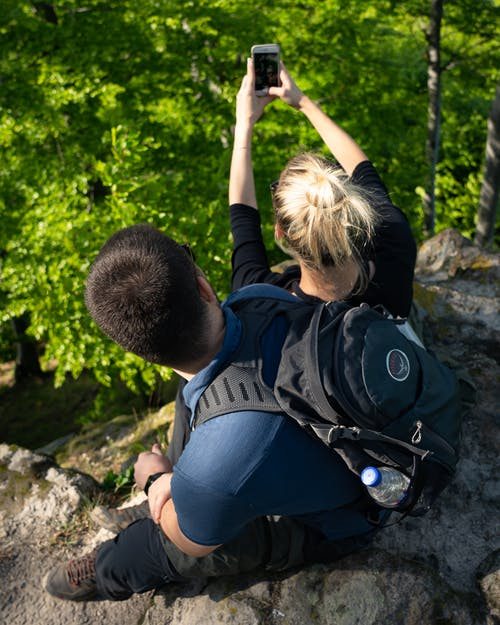 Free stock photo of blonde, couple, hiking, hiking gear