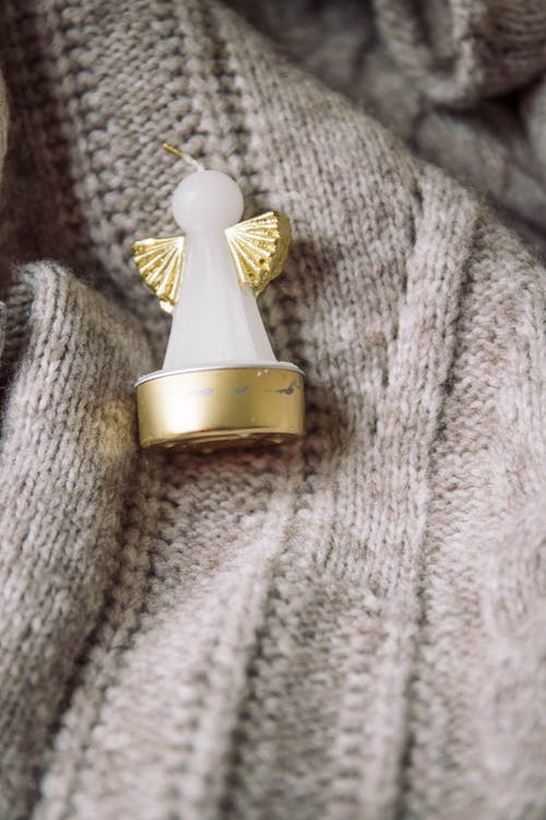 Gold and White Angel Candle Figurine