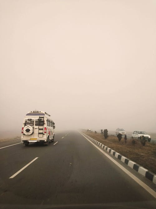 Free stock photo of bus, fog, foggy