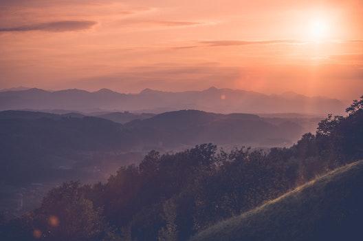 Free stock photo of light, mountains, sky, sunset