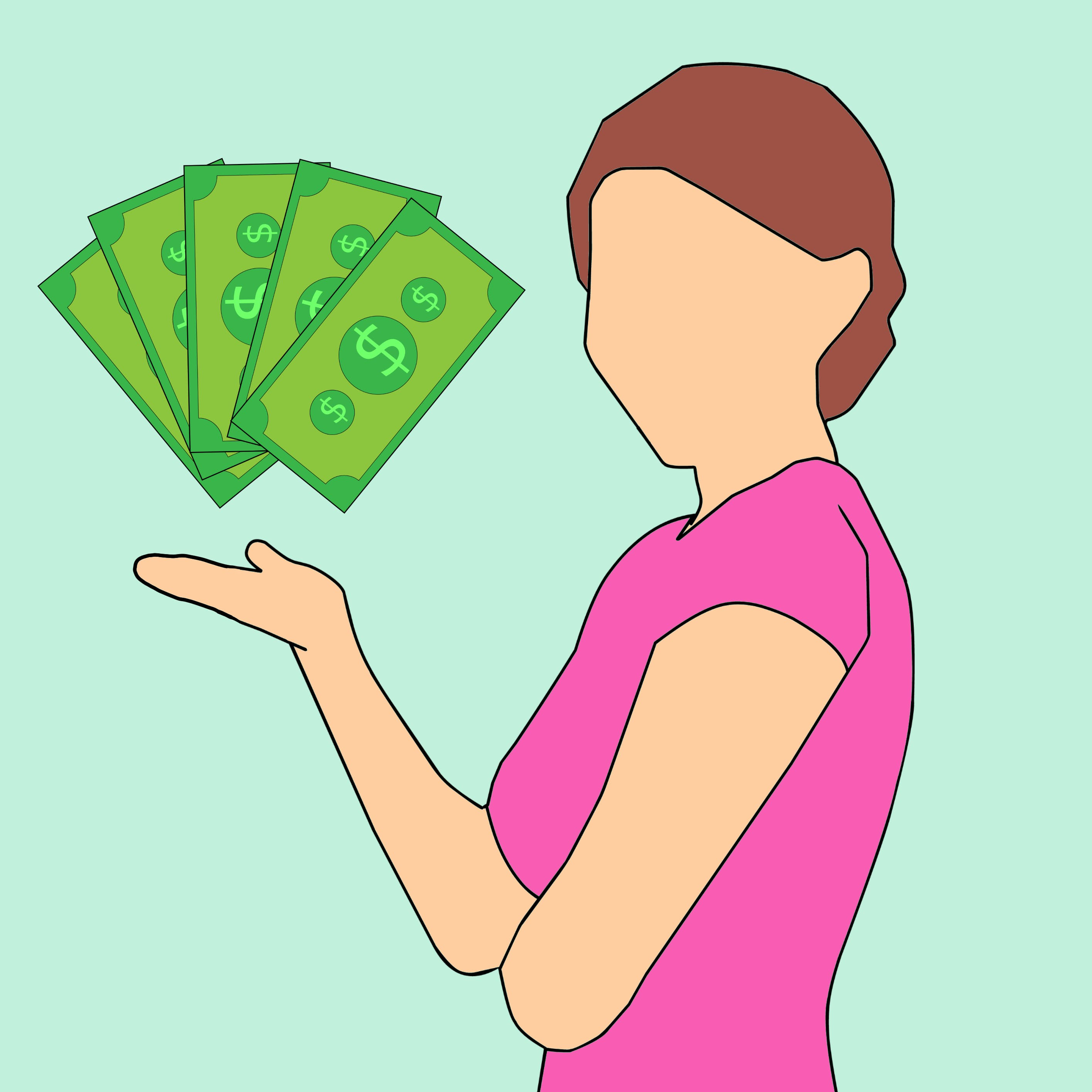 Free stock photo of woman, money, cartoon, character