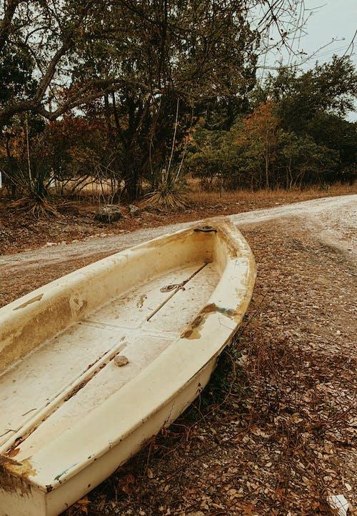 White Canoe on Brown Soil