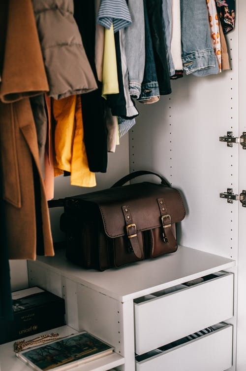 Wardrobe with bag and clothes