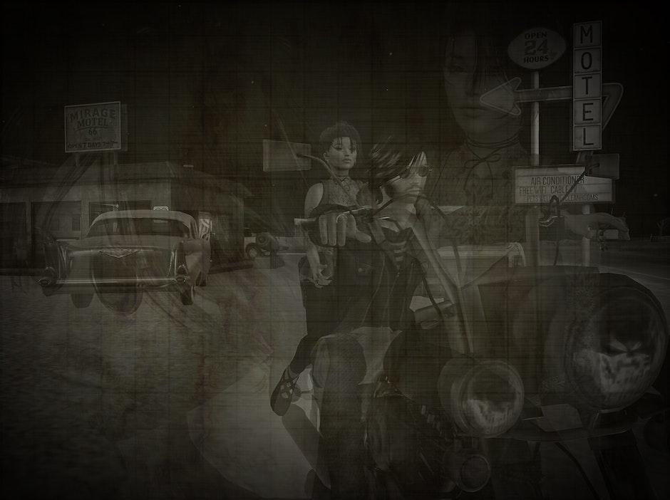 biker, black and white, girl