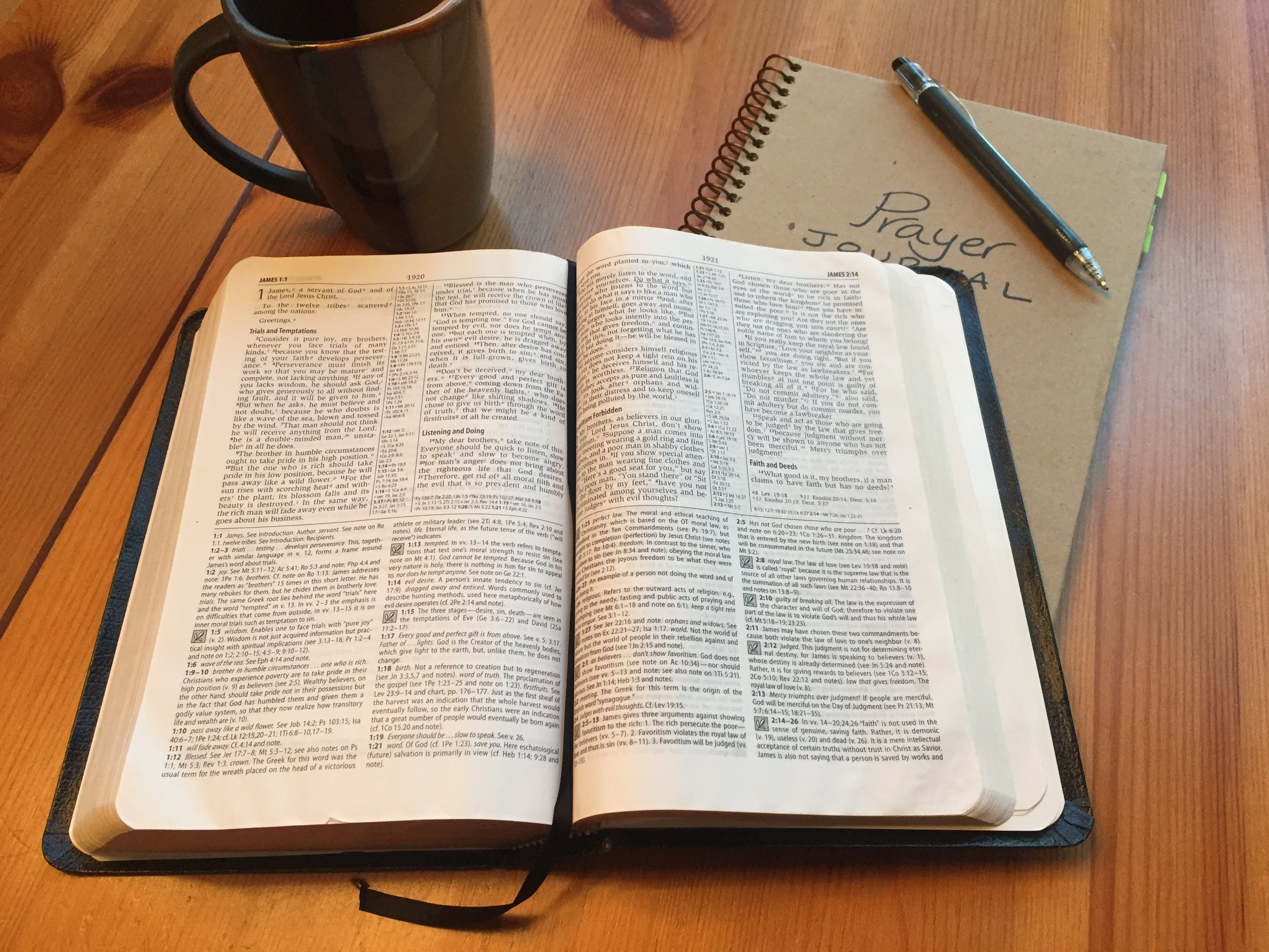 Free stock photo of bible, devotions, journal, open bible