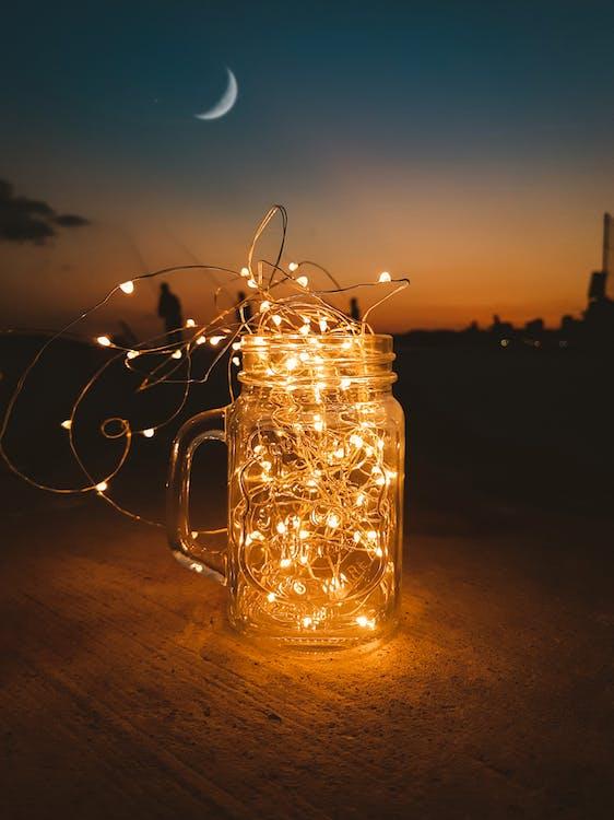 Clear Glass Mason Jar With String Lights