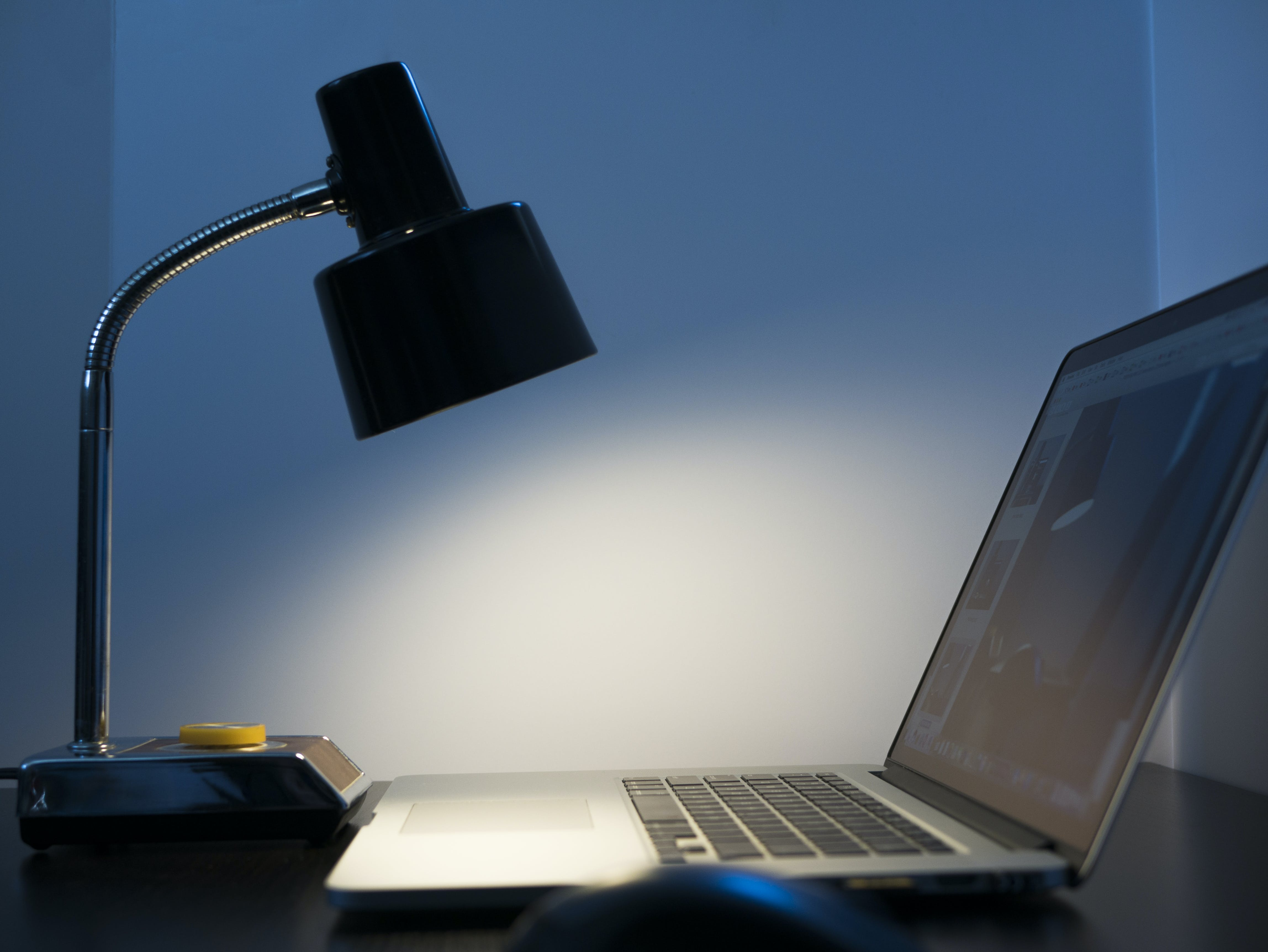 Free stock photo of computer, lamp, laptop, light