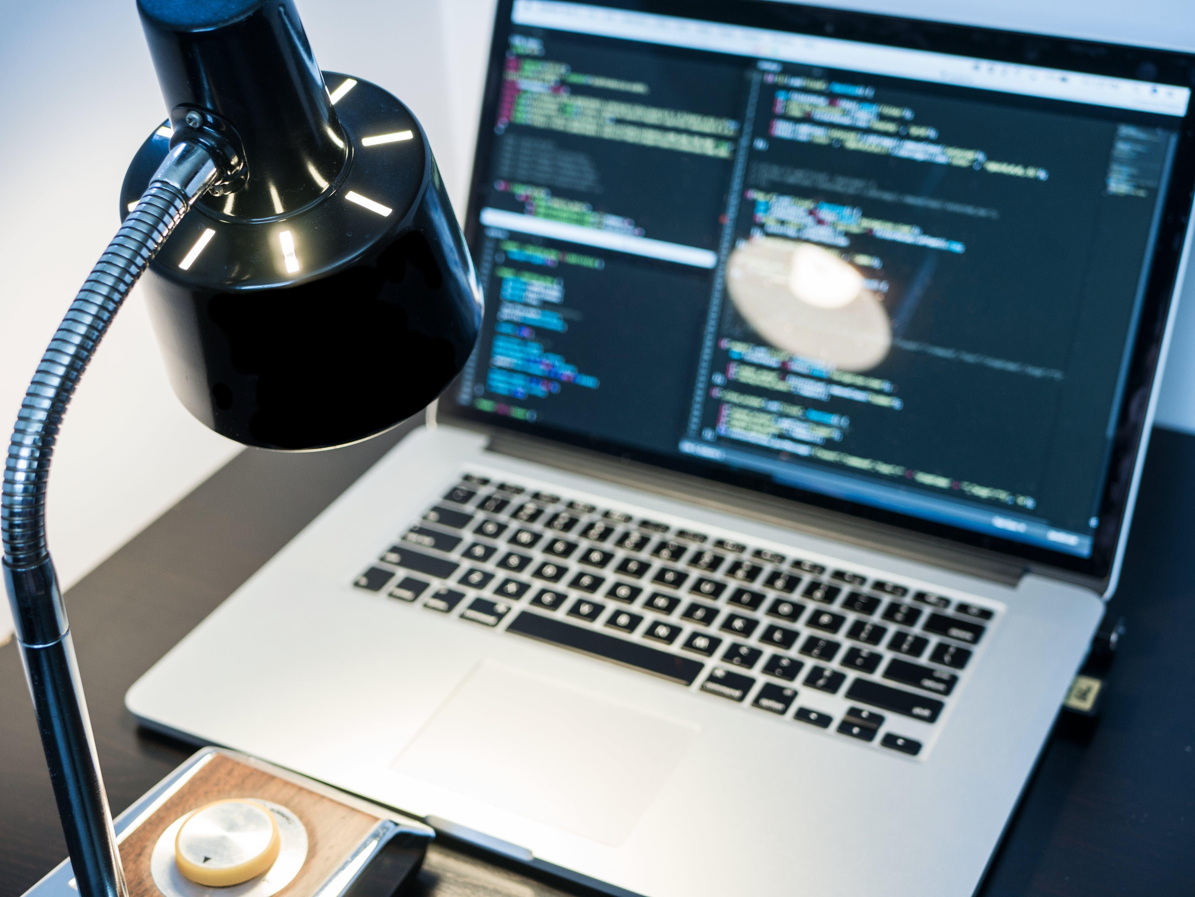 coding, lamp, laptop