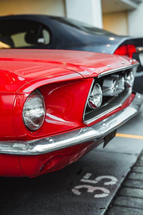 Vintage car parked in street garage