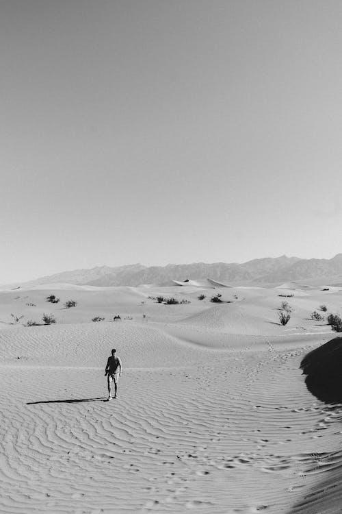 Unrecognizable male tourist exploring desert in sunlight