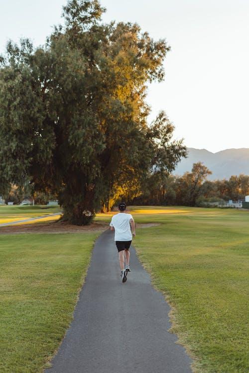 Nicht Erkennbare Frau, Die Entlang Fußweg Im Park Joggt