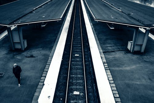 Bird's Eye View of Train Station