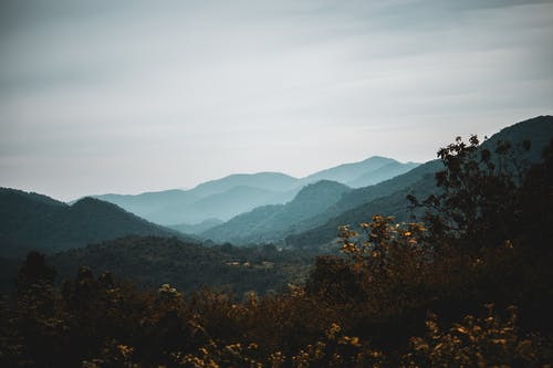 Spectacular scenery of huge mountain range covered with lush green trees against overcast sky