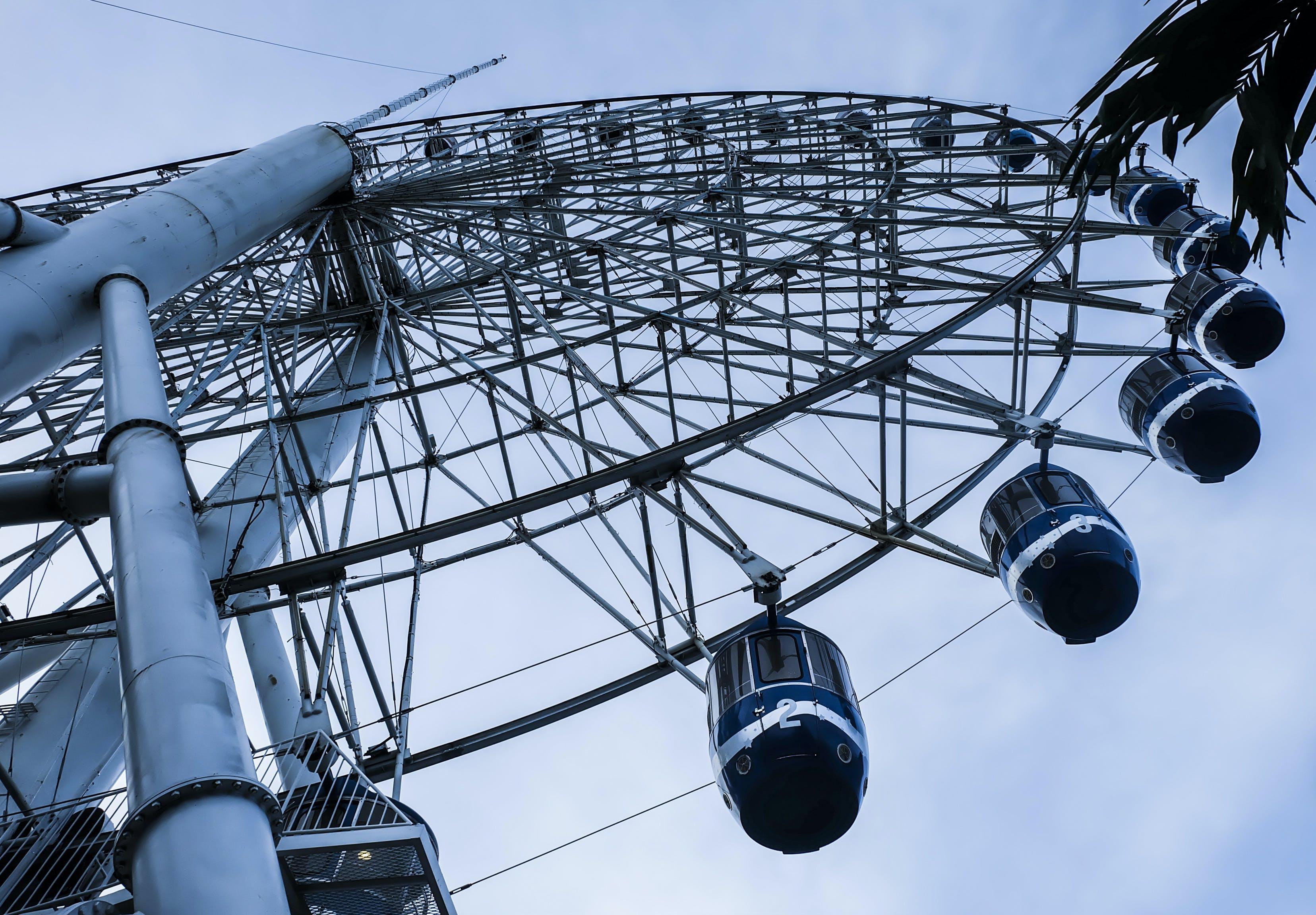 Free stock photo of amusement, amusement park, black and white, ferris wheel