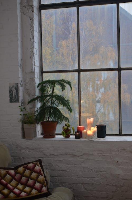 Living room interior with decoration on windowsill