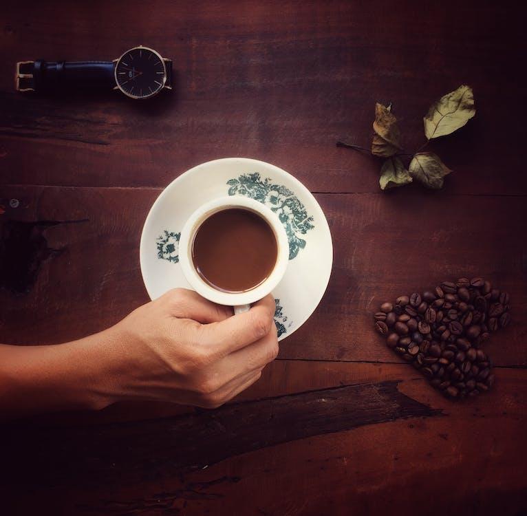 armbandsur, cappuccino, dryck