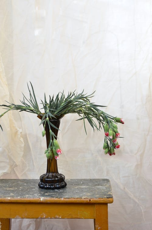Vase with fresh flowers placed on wooden table