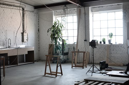Renovation equipment in loft style flat