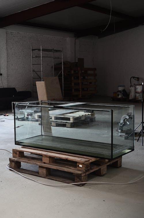 Pecera De Vidrio Transparente Sobre Mesa De Madera Marrón