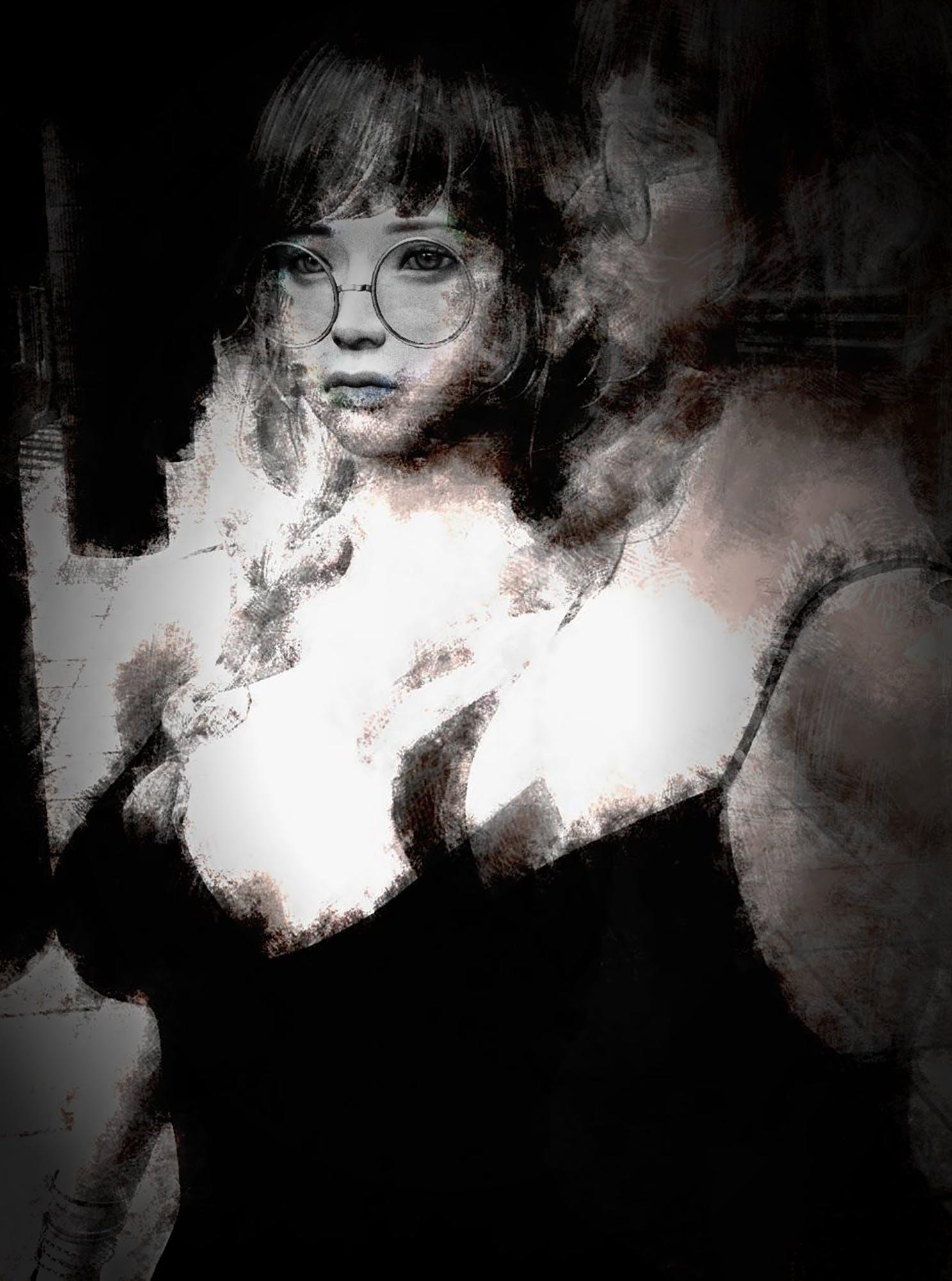 black and white, girl